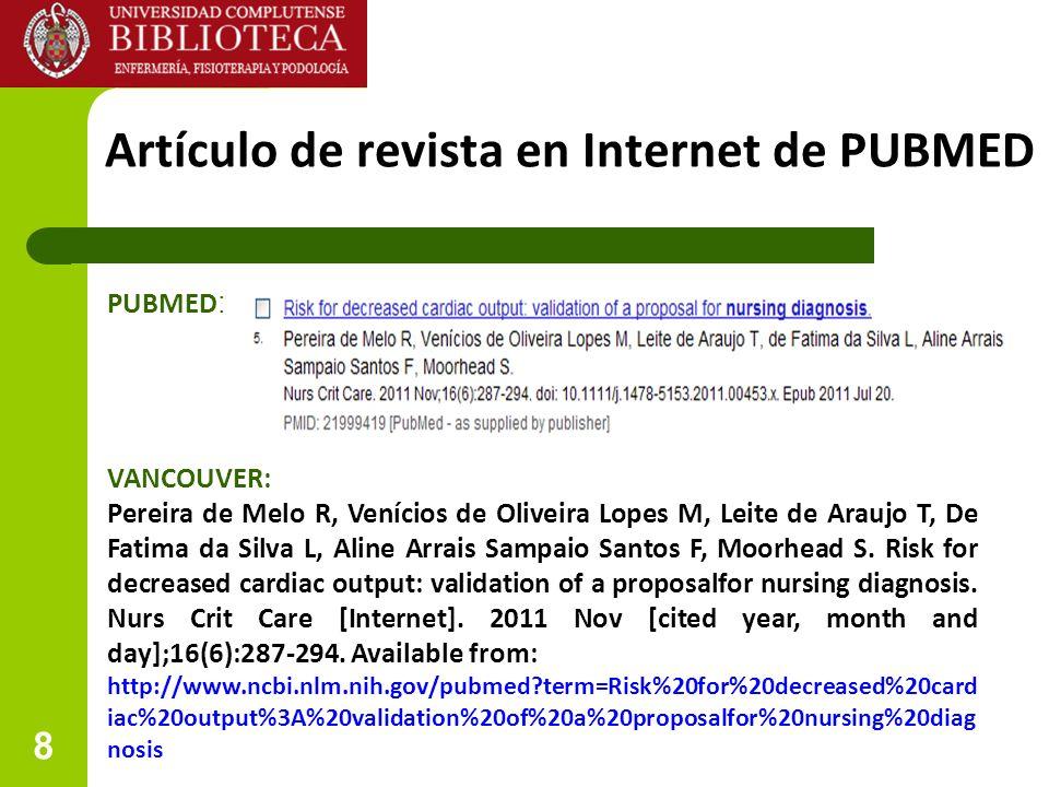 Artículo de revista en Internet de PUBMED