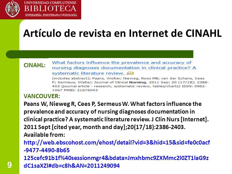 Artículo de revista en Internet de CINAHL