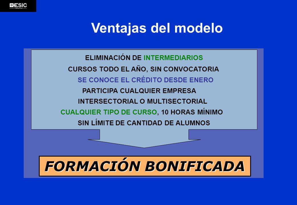 FORMACIÓN BONIFICADA Ventajas del modelo ELIMINACIÓN DE INTERMEDIARIOS