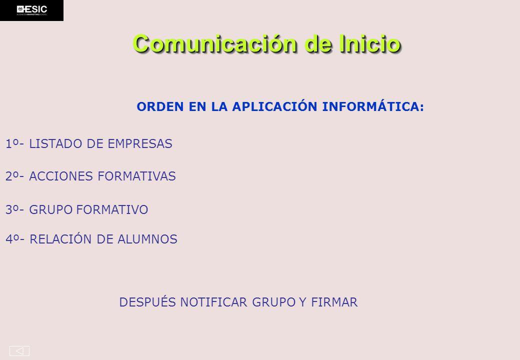 Comunicación de Inicio