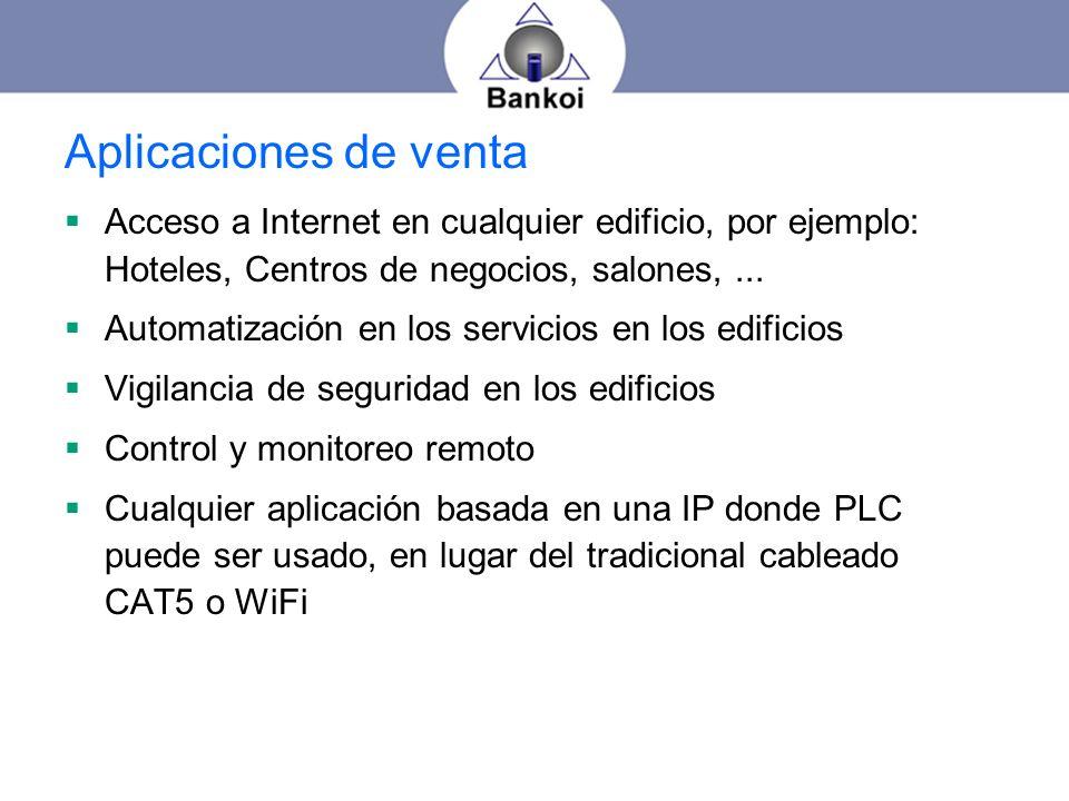 Aplicaciones de venta Acceso a Internet en cualquier edificio, por ejemplo: Hoteles, Centros de negocios, salones, ...