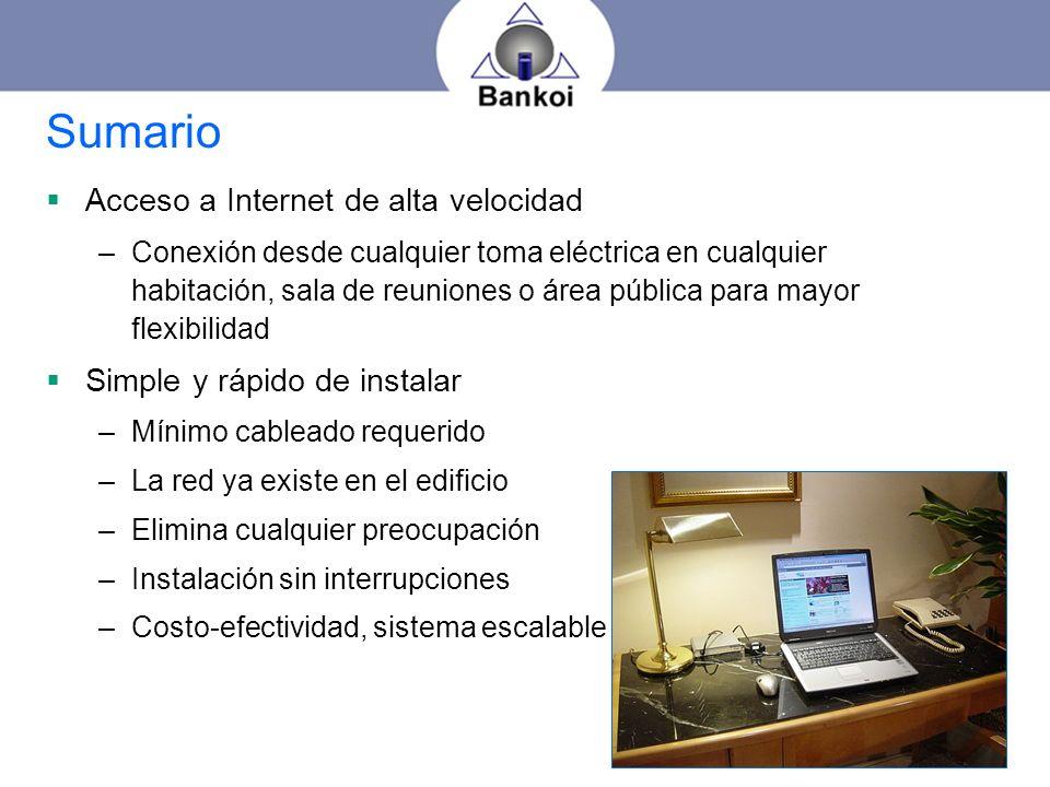Sumario Acceso a Internet de alta velocidad
