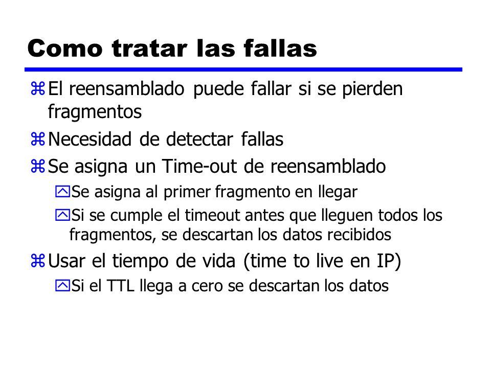 Como tratar las fallas El reensamblado puede fallar si se pierden fragmentos. Necesidad de detectar fallas.