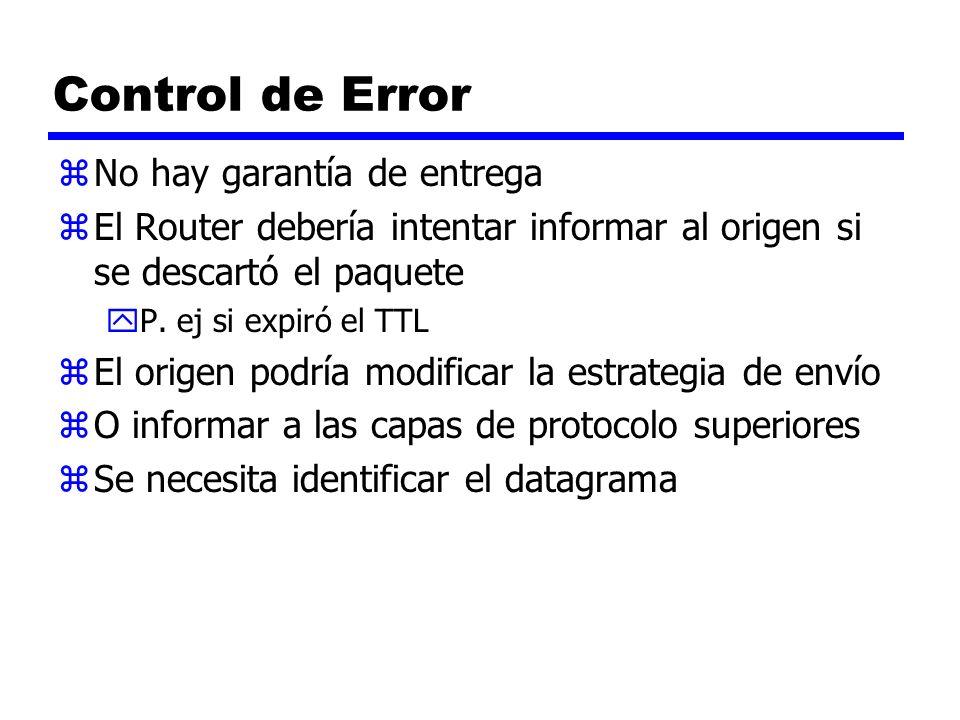 Control de Error No hay garantía de entrega