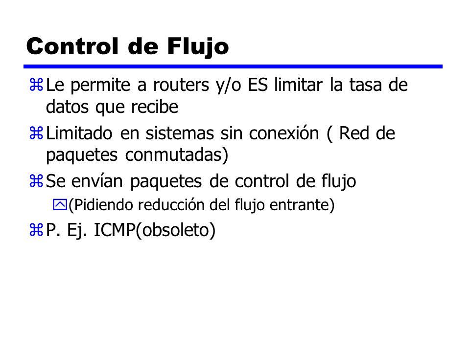 Control de Flujo Le permite a routers y/o ES limitar la tasa de datos que recibe. Limitado en sistemas sin conexión ( Red de paquetes conmutadas)