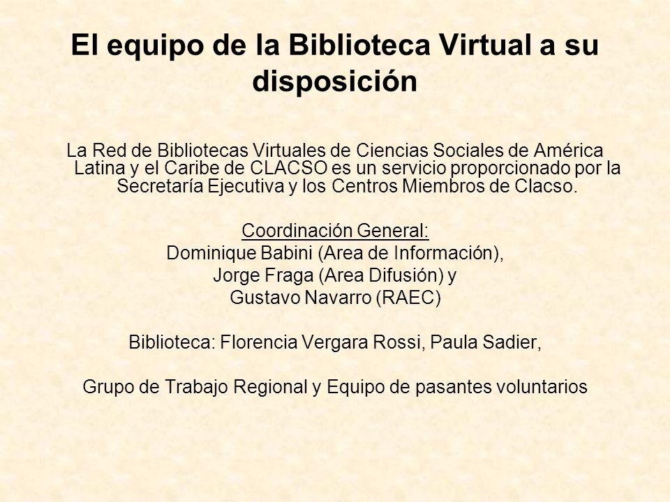 El equipo de la Biblioteca Virtual a su disposición