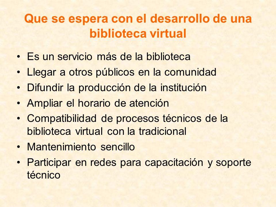 Que se espera con el desarrollo de una biblioteca virtual