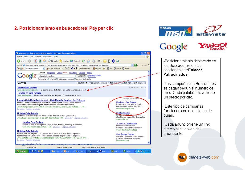 2. Posicionamiento en buscadores: Pay per clic