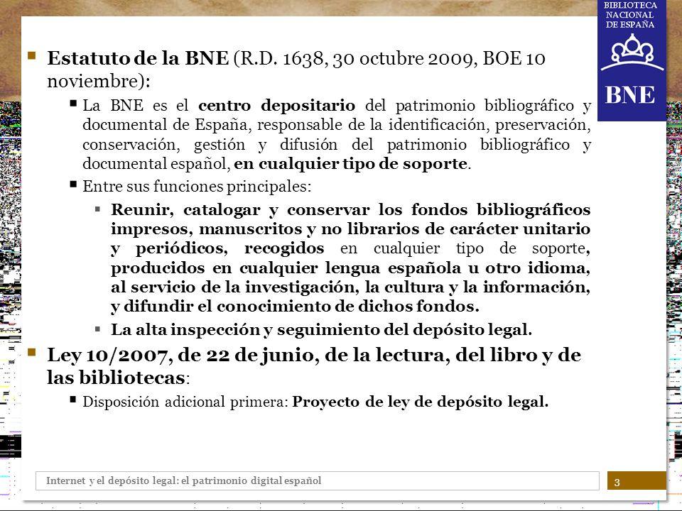 Estatuto de la BNE (R.D. 1638, 30 octubre 2009, BOE 10 noviembre):