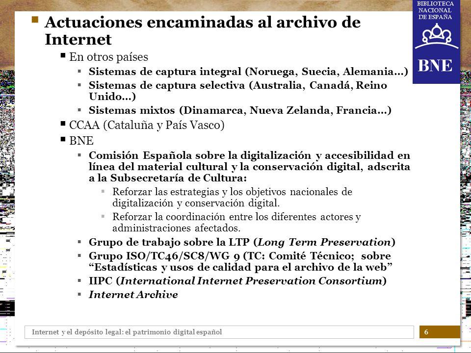 Actuaciones encaminadas al archivo de Internet