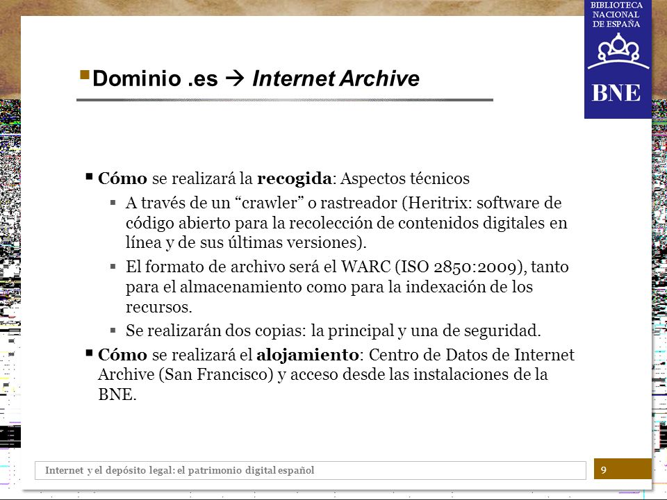 Dominio .es  Internet Archive