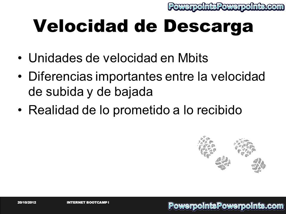 Velocidad de Descarga Unidades de velocidad en Mbits