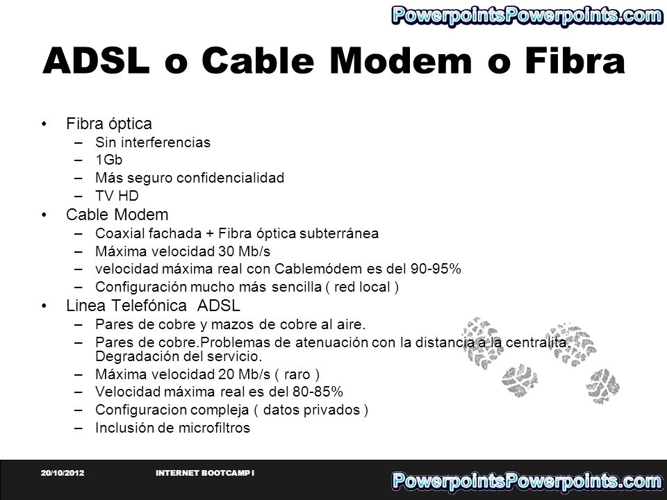 ADSL o Cable Modem o Fibra