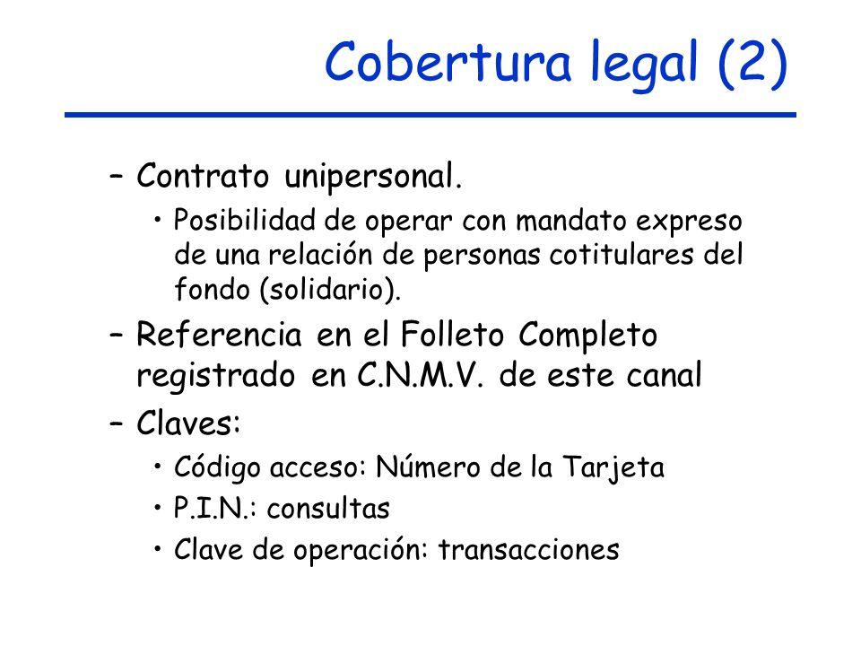 Cobertura legal (2) Contrato unipersonal.