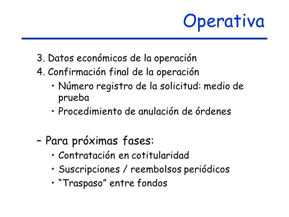 Operativa Para próximas fases: 3. Datos económicos de la operación