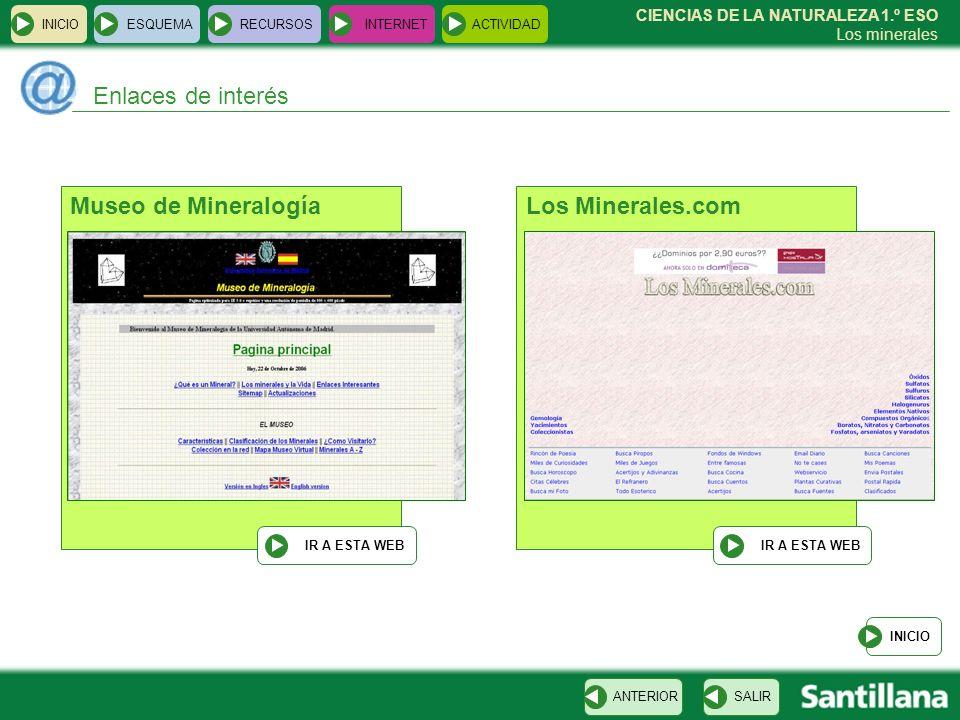 Enlaces de interés Museo de Mineralogía Los Minerales.com INICIO