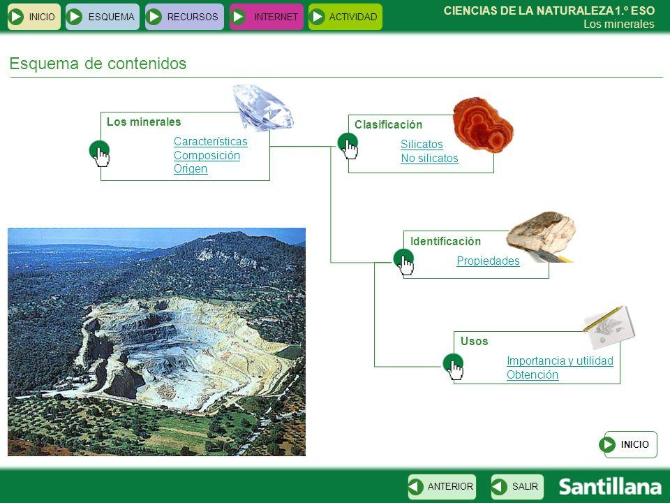 Esquema de contenidos Los minerales Clasificación Características