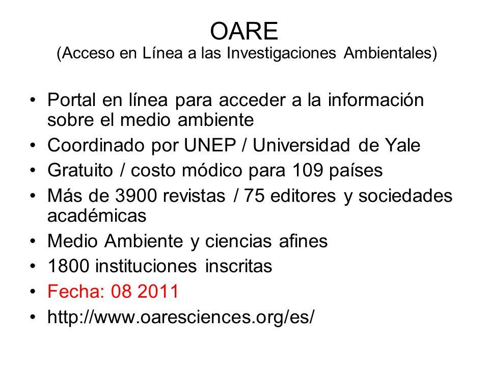 OARE (Acceso en Línea a las Investigaciones Ambientales)