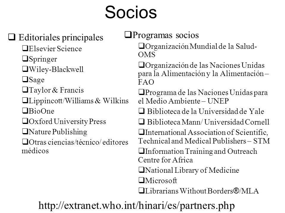 Socios http://extranet.who.int/hinari/es/partners.php Programas socios