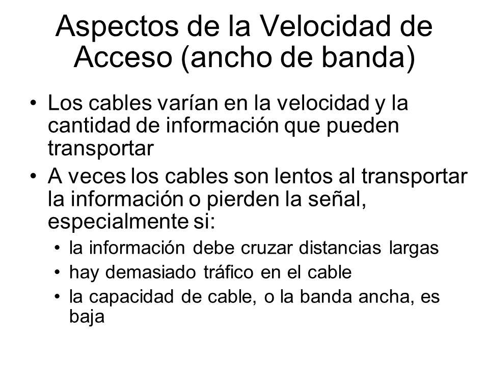 Aspectos de la Velocidad de Acceso (ancho de banda)