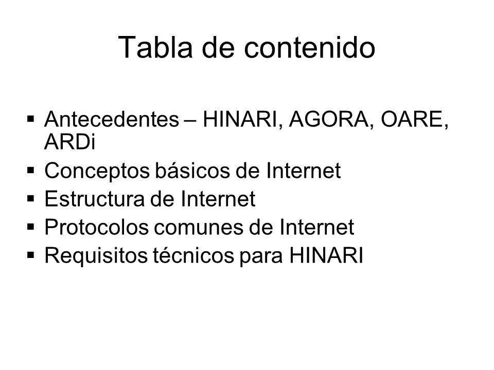 Tabla de contenido Antecedentes – HINARI, AGORA, OARE, ARDi