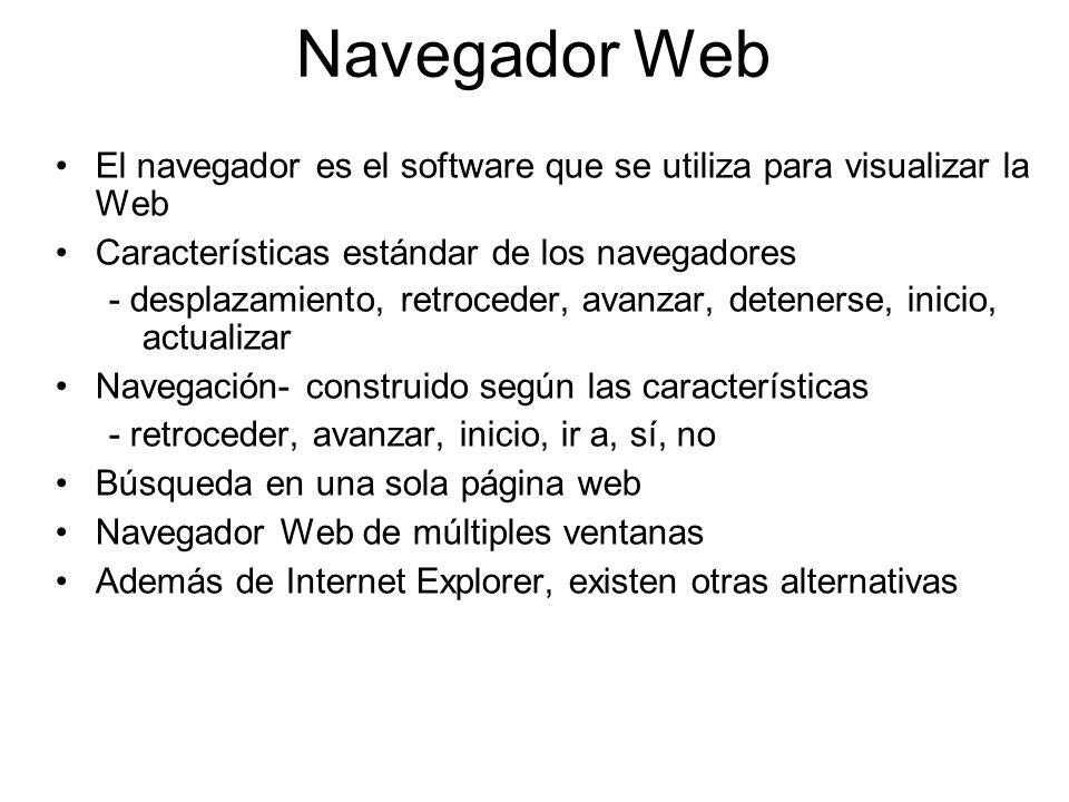 Navegador Web El navegador es el software que se utiliza para visualizar la Web. Características estándar de los navegadores.