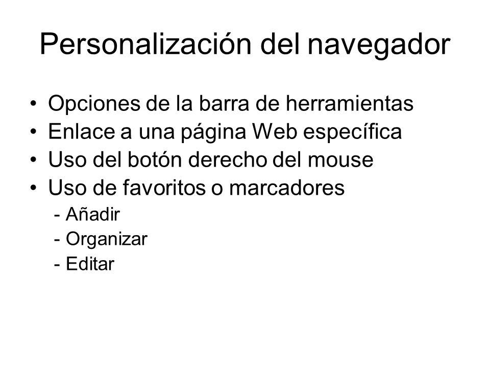 Personalización del navegador