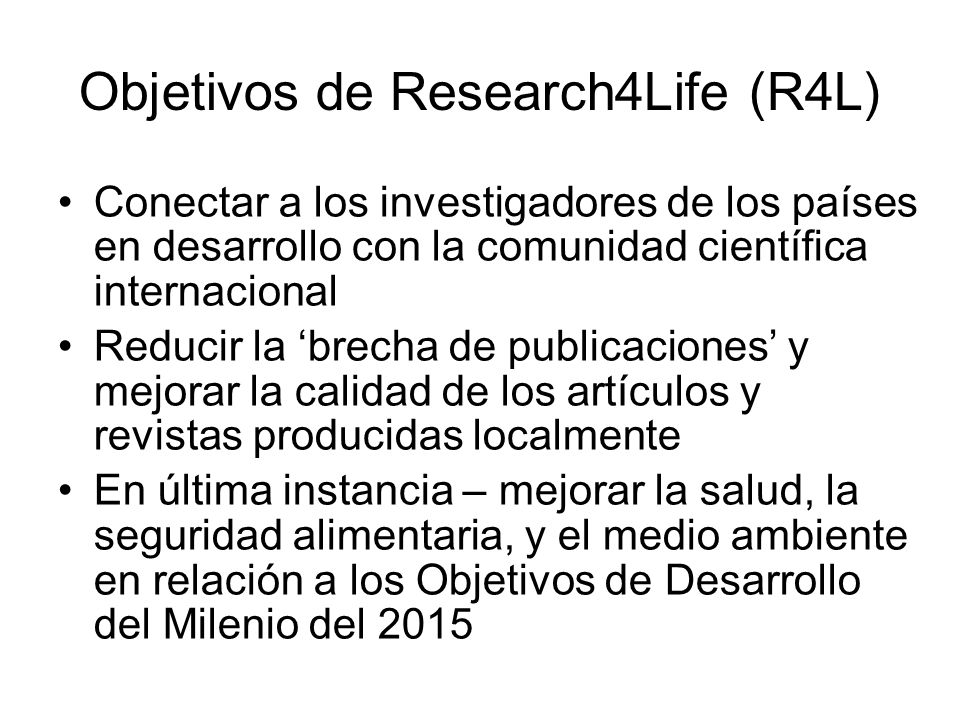 Objetivos de Research4Life (R4L)