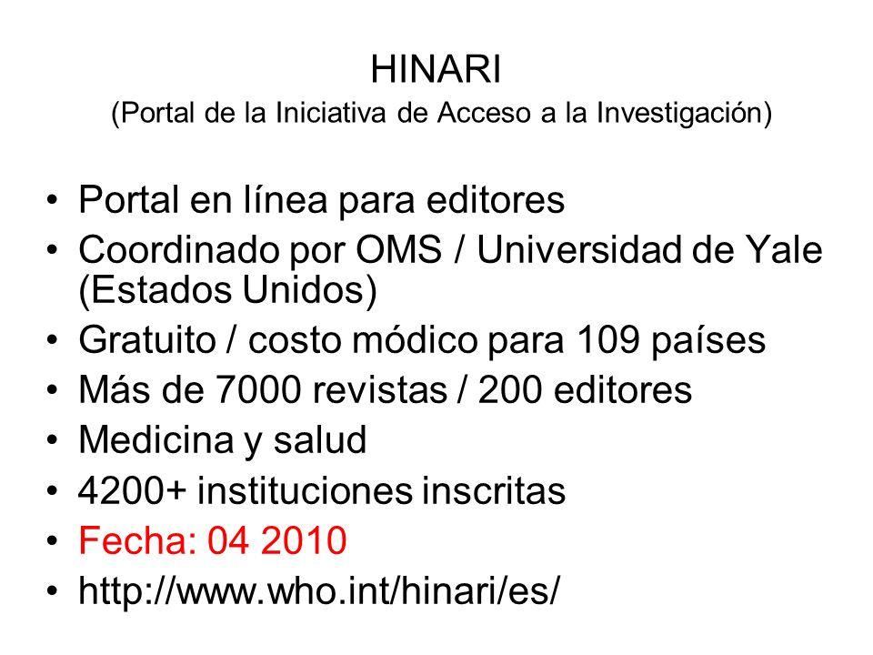 HINARI (Portal de la Iniciativa de Acceso a la Investigación)