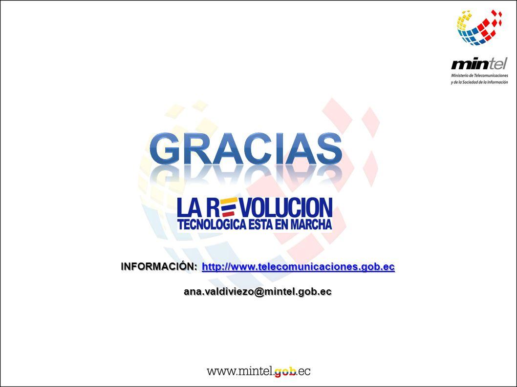 INFORMACIÓN: http://www.telecomunicaciones.gob.ec