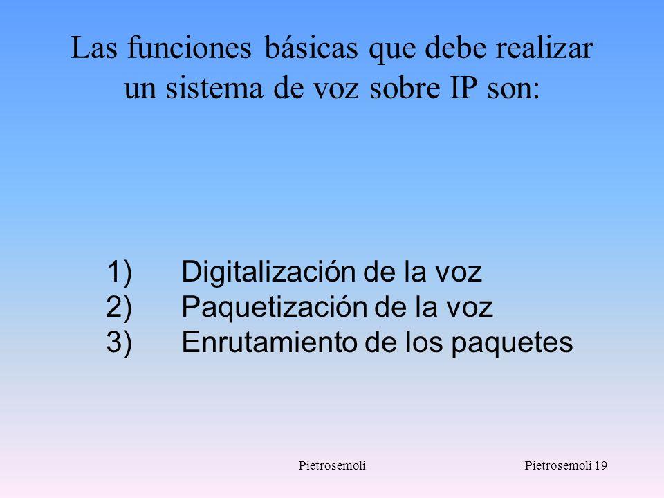 Las funciones básicas que debe realizar un sistema de voz sobre IP son: