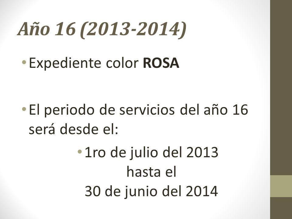 1ro de julio del 2013 hasta el 30 de junio del 2014