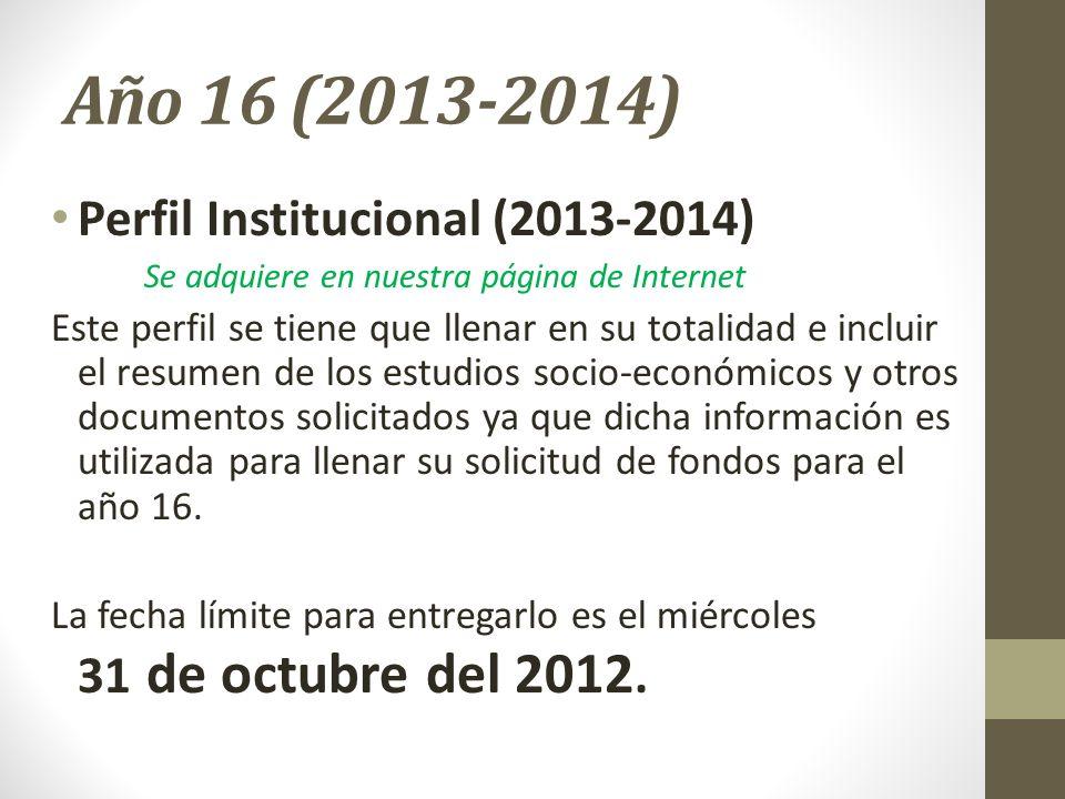 Año 16 (2013-2014) Perfil Institucional (2013-2014)