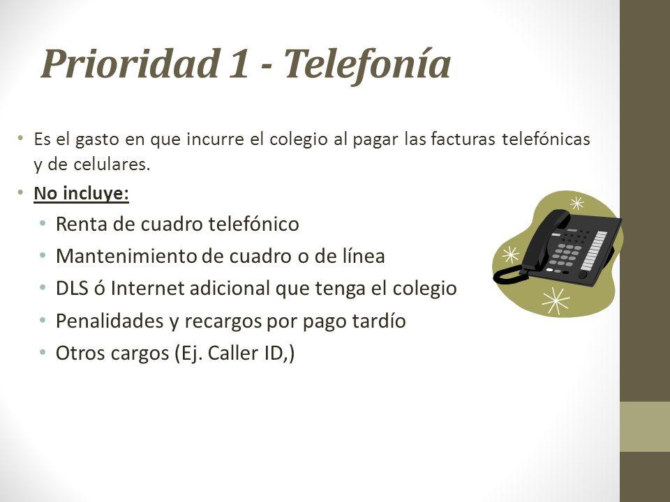 Prioridad 1 - Telefonía Renta de cuadro telefónico
