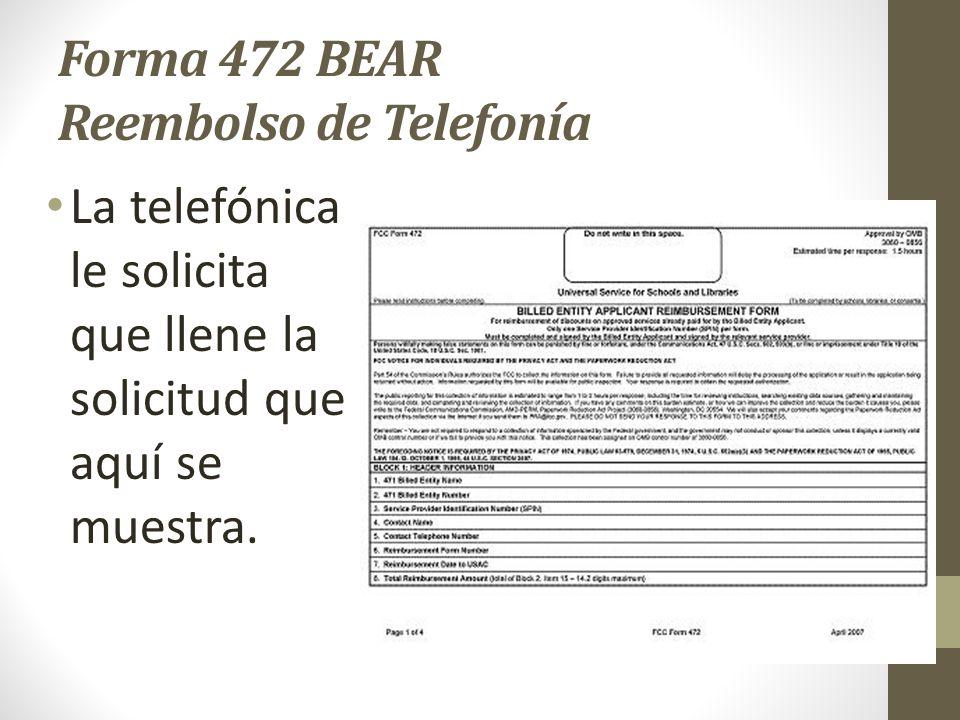 Forma 472 BEAR Reembolso de Telefonía