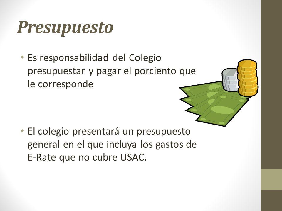 Presupuesto Es responsabilidad del Colegio presupuestar y pagar el porciento que le corresponde.