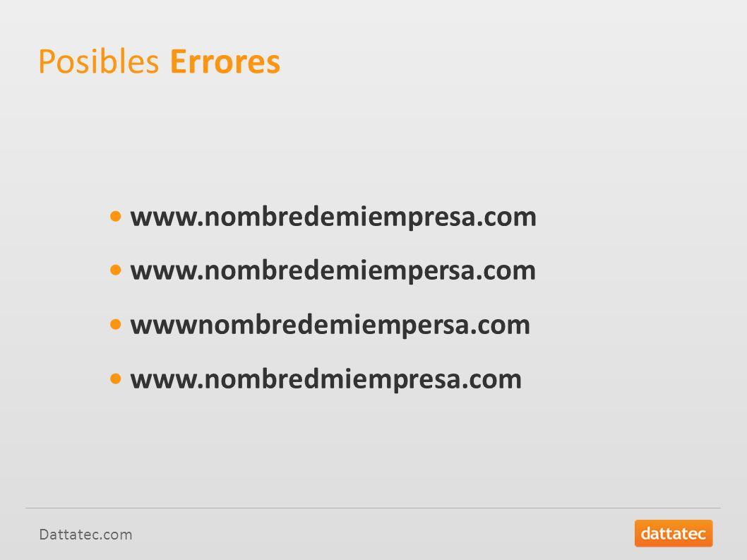 Posibles Errores • www.nombredemiempresa.com