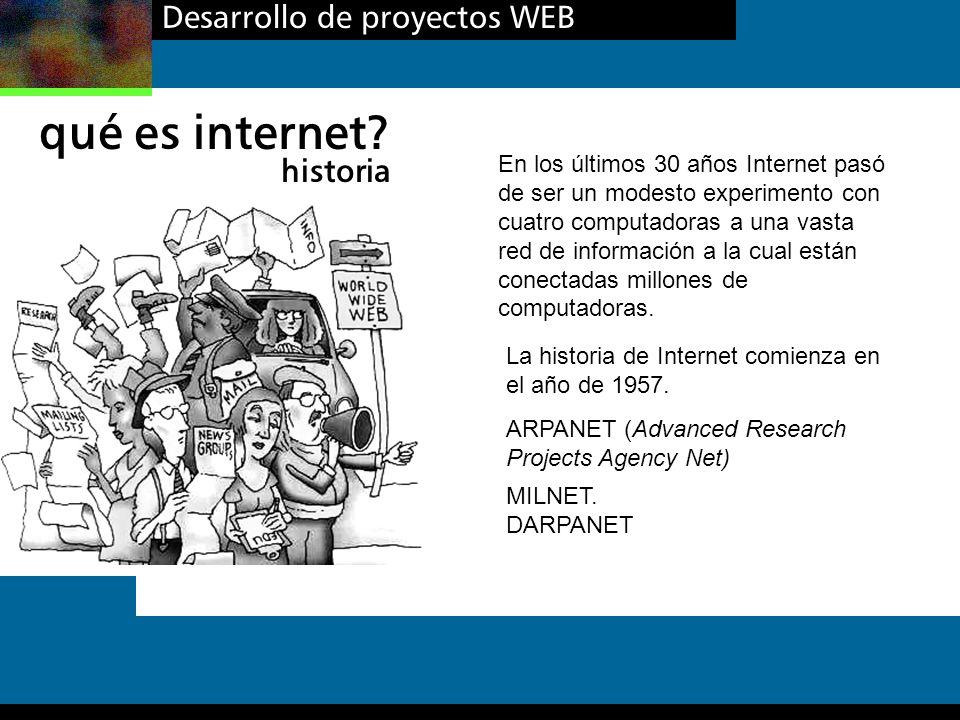 qué es internet Desarrollo de proyectos WEB historia