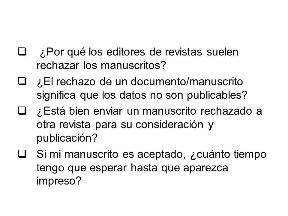 ¿Por qué los editores de revistas suelen rechazar los manuscritos