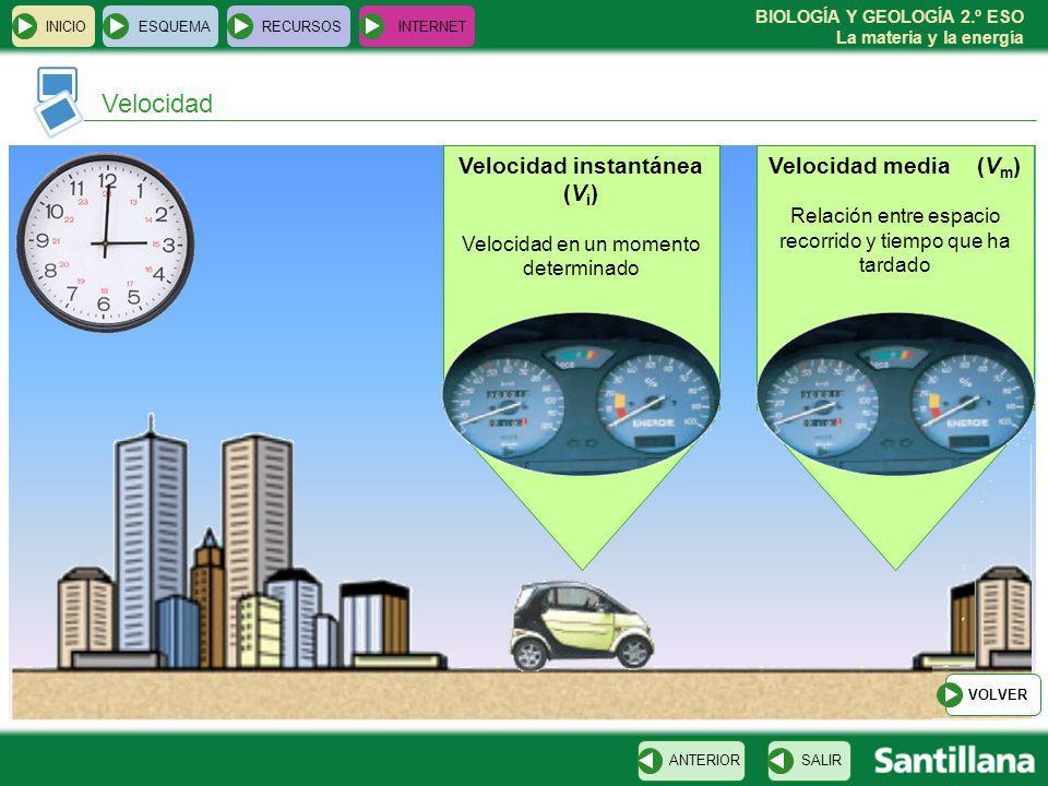 Velocidad Velocidad instantánea (Vi) Velocidad media (Vm)