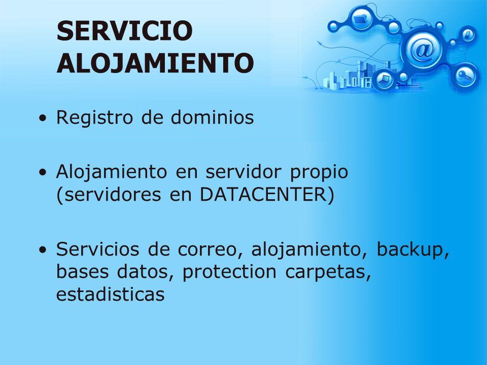 SERVICIO ALOJAMIENTO Registro de dominios