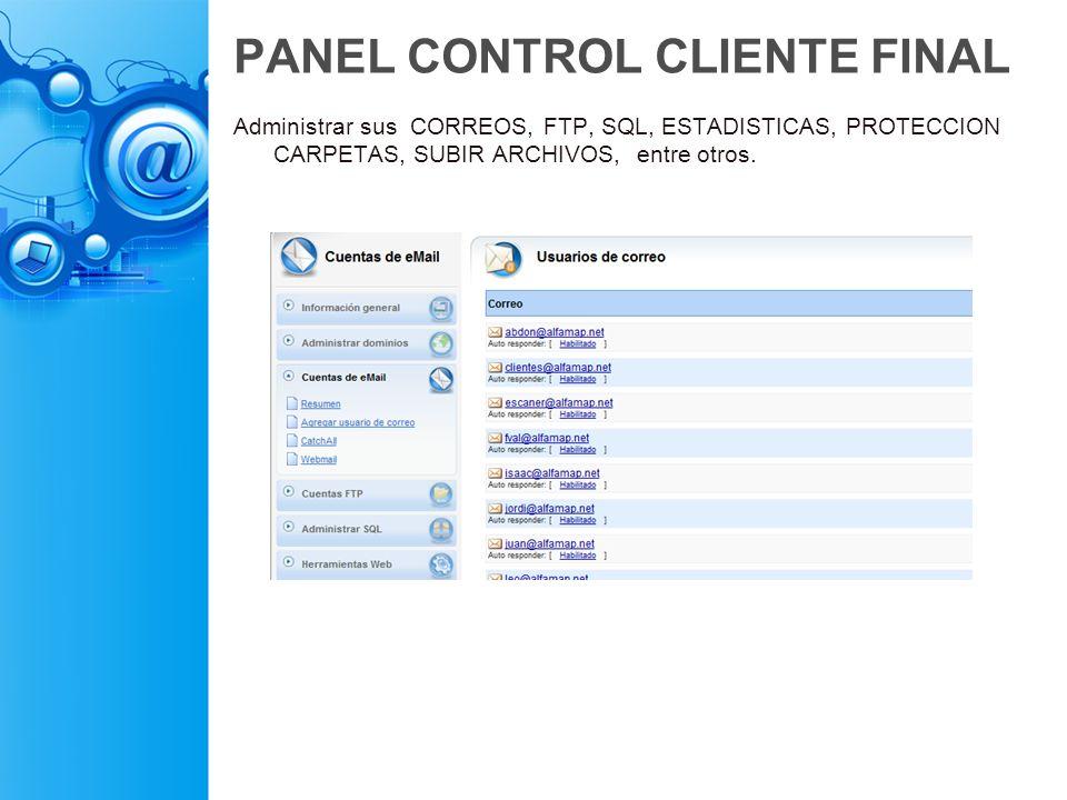 PANEL CONTROL CLIENTE FINAL