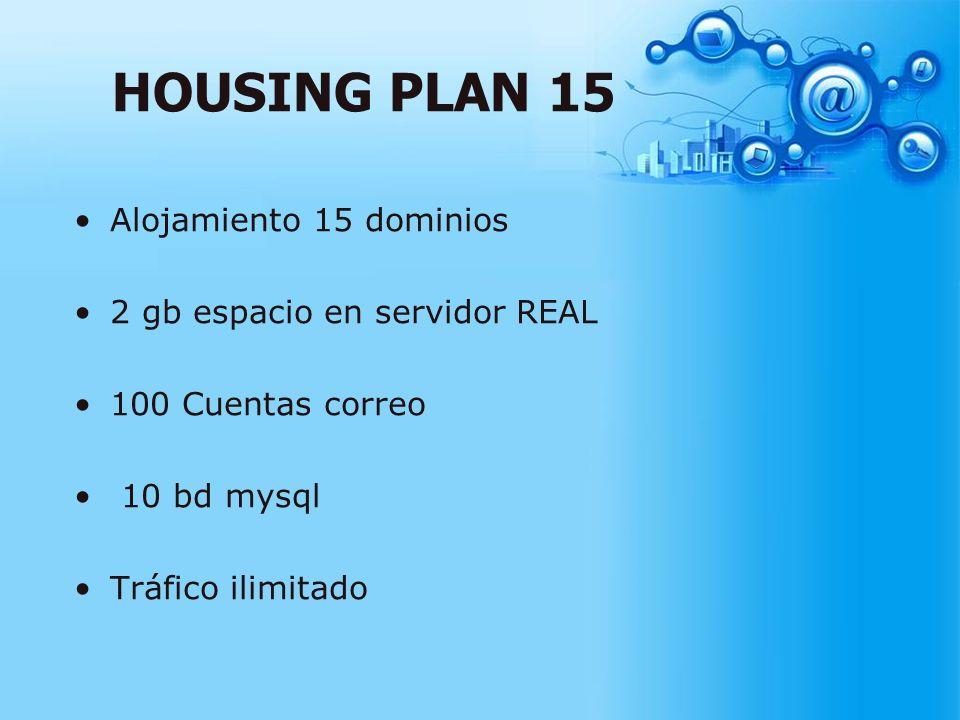 HOUSING PLAN 15 Alojamiento 15 dominios 2 gb espacio en servidor REAL