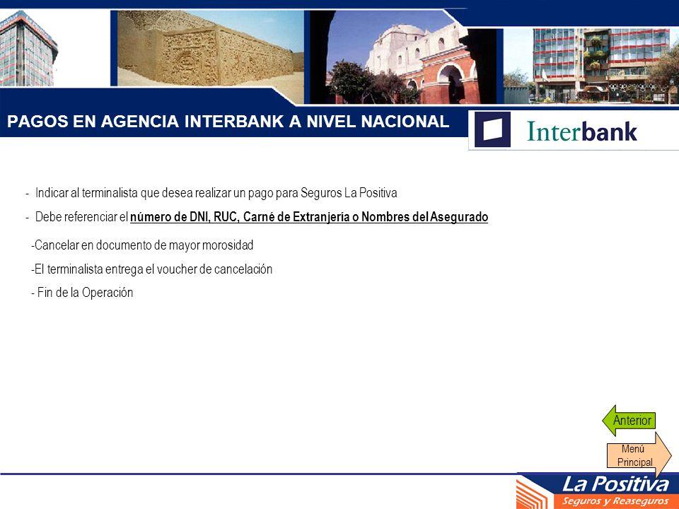 PAGOS EN AGENCIA INTERBANK A NIVEL NACIONAL