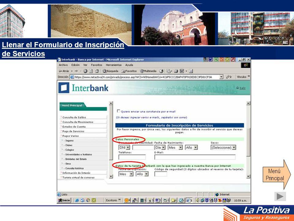 Llenar el Formulario de Inscripción de Servicios