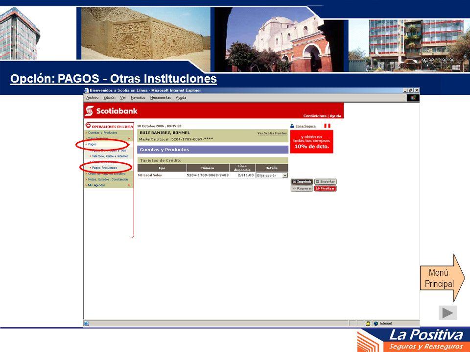 Opción: PAGOS - Otras Instituciones