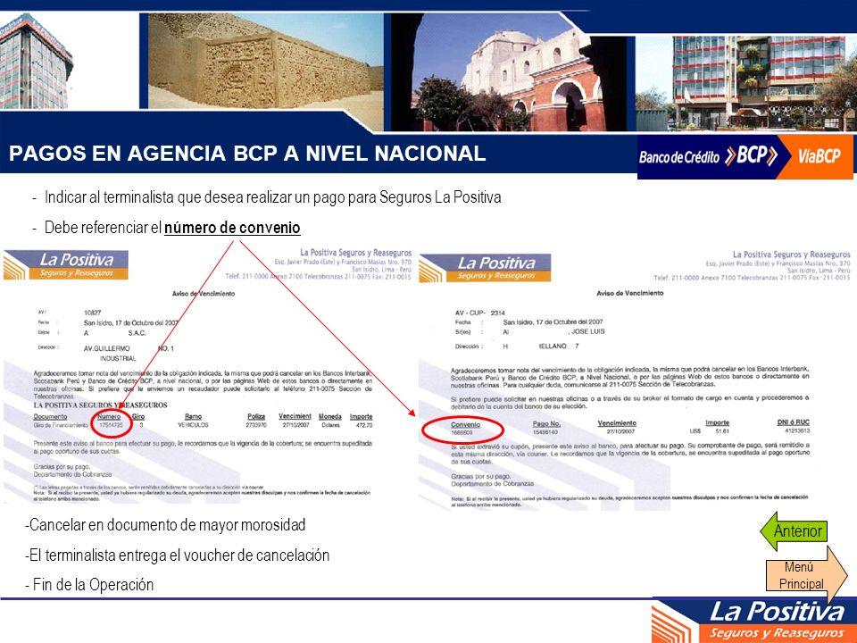 PAGOS EN AGENCIA BCP A NIVEL NACIONAL