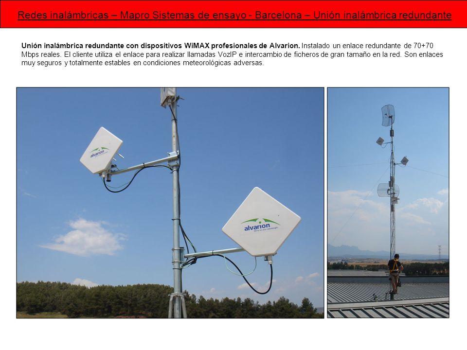 Redes inalámbricas – Mapro Sistemas de ensayo - Barcelona – Unión inalámbrica redundante