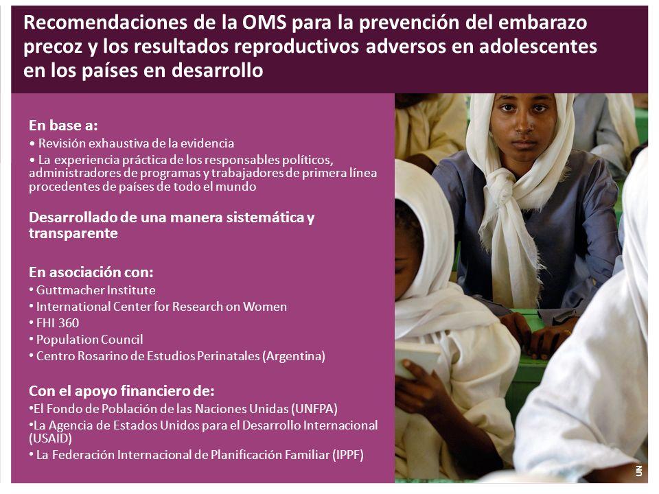 Recomendaciones de la OMS para la prevención del embarazo precoz y los resultados reproductivos adversos en adolescentes en los países en desarrollo