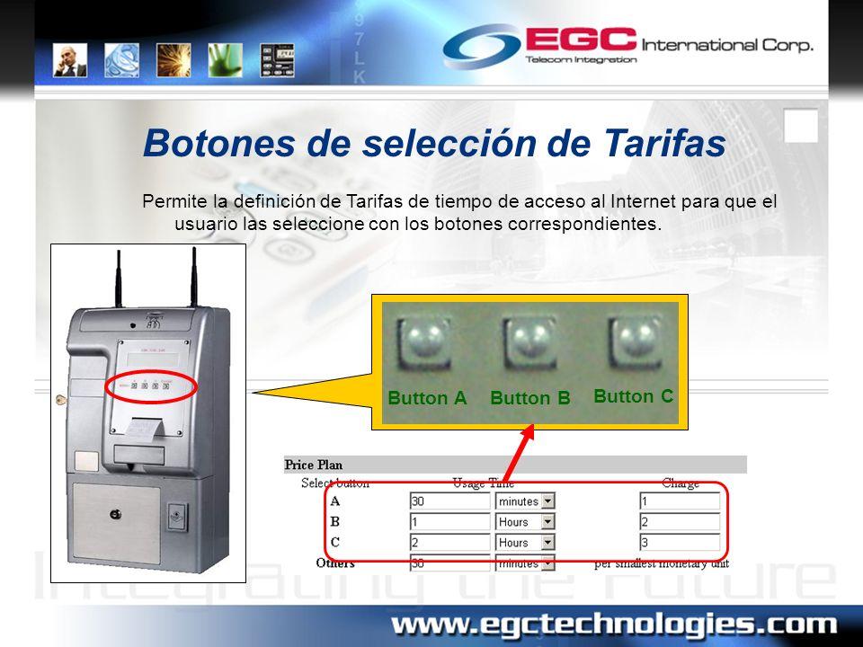 Botones de selección de Tarifas